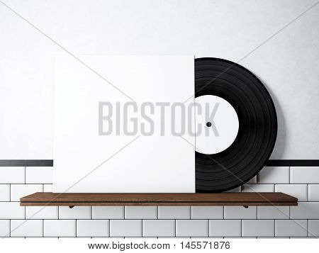 Photo vinyl music album template on natural wood bookshelf.White painted bricks wall background.Vintage style, high textured row materials.White empty disk cover. Horizontal. 3D rendering