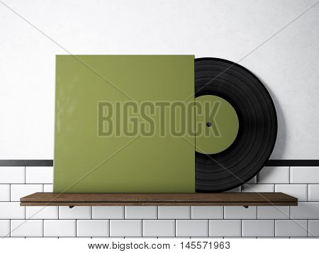 Photo vinyl music album template on natural wood bookshelf.White painted bricks wall background.Vintage style, high textured row materials.Green blank disk cover. Horizontal. 3D rendering