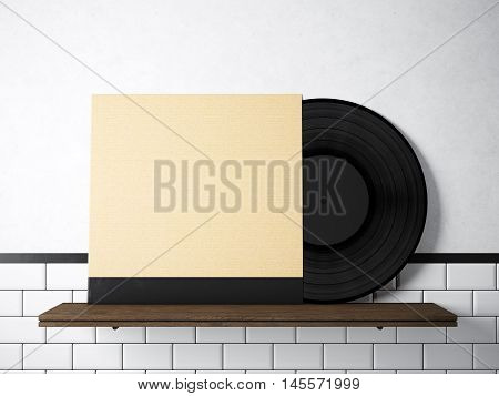 Image vinyl music album template on natural wood bookshelf.White painted bricks wall background.Vintage style, high textured row materials.Craft paper blank disk cover. Horizontal. 3D rendering