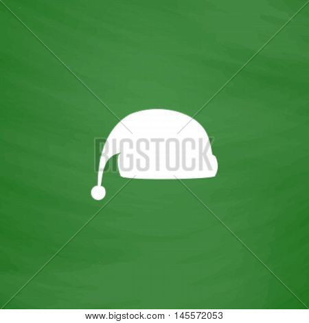 winter cap Simple vector button. Imitation draw icon with white chalk on blackboard. Flat Pictogram and School board background. Illustration symbol