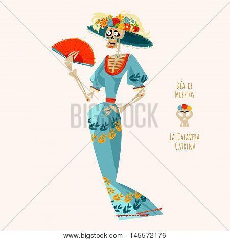 La Calavera Catrina. Elegant Skull. Dia de Muertos. Vector illustration