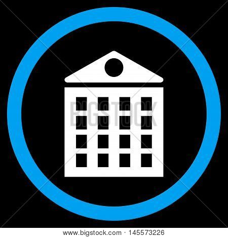 Multi-Storey House vector bicolor rounded icon. Image style is a flat icon symbol inside a circle, blue and white colors, black background.