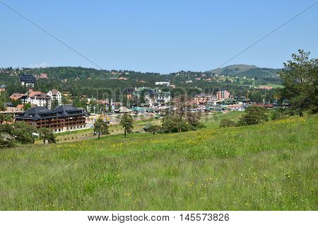 Zlatibor Serbia - May 28 2016: Town Zlatibor on Zlatibor Mountain in spring 2016.