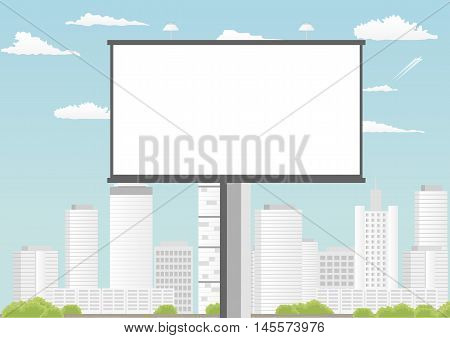 Blank billboard with empty screen against skyscrapers and blue cloudy sky