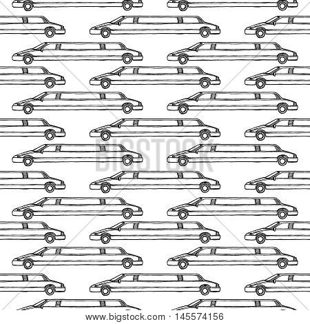 limousine seamless pattern. Design element for wedding greeting card, valentines day invitation, honeymoon postcard. Vintage style, hand drawn pen and ink