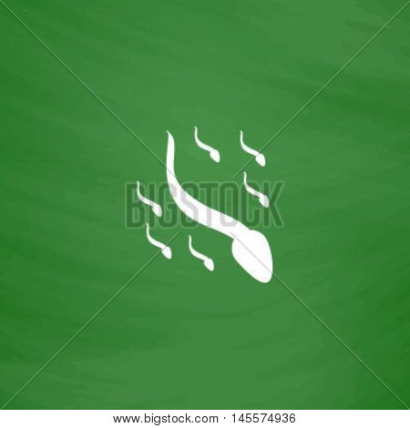 spermatozoon Simple vector button. Imitation draw icon with white chalk on blackboard. Flat Pictogram and School board background. Illustration symbol