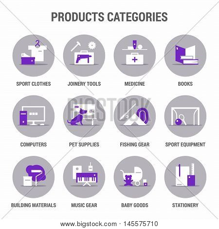 Icons set of products categories. Flat. Color 1.