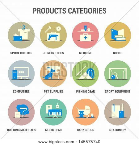 Icons set of products categories. Flat. Colorized.