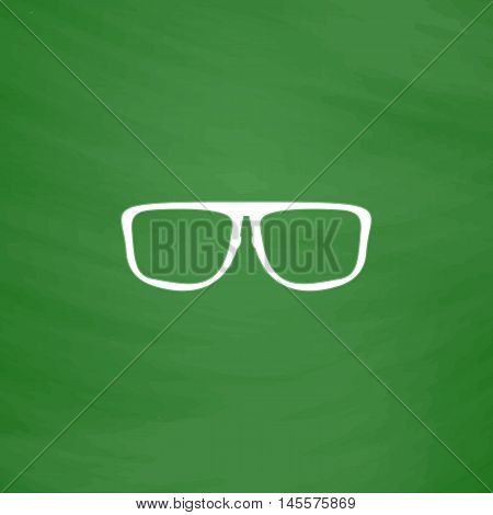 Glasses Simple vector button. Imitation draw icon with white chalk on blackboard. Flat Pictogram and School board background. Illustration symbol
