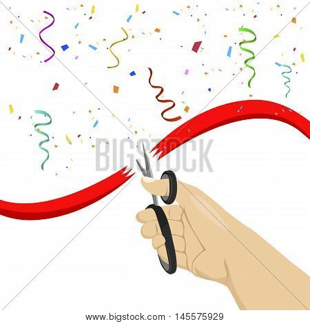 hand cutting a red ribbon with scissors on white background with colorful confetti