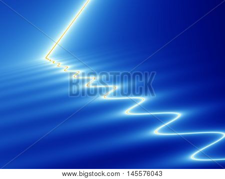 Abstract fractal image with effect of white and yellow streak of light hitting and rippling across blue surface