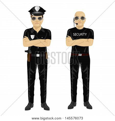 security and police guards standing with arms folded isolated on white background