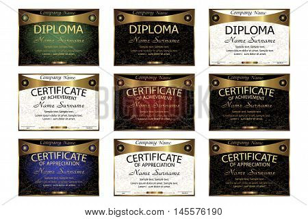 Set diploma certificate of appreciation achievement. Horizontal template. Gold. Reward. Winning the competition. Award winner. Vector illustration.