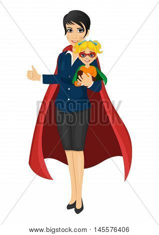 super hero mom in business suit holding her daughter with her hands and showing thumbs up on white background