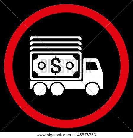 Cash Lorry vector bicolor rounded icon. Image style is a flat icon symbol inside a circle, red and white colors, black background.
