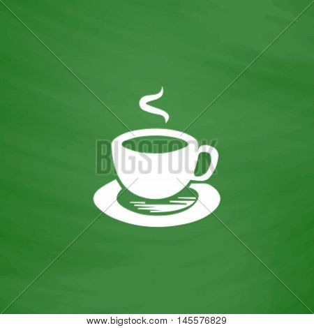 Hot coffe Simple vector button. Imitation draw icon with white chalk on blackboard. Flat Pictogram and School board background. Illustration symbol
