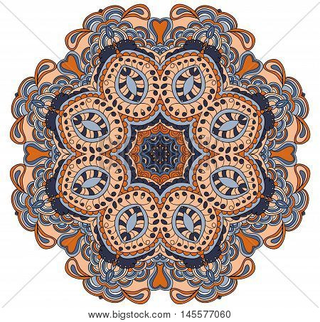 Colored vector symmetrical pattern. Round tracery. Mandala.  Cinco de mayo. Ethnic background.