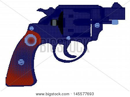 A snub nose handgun in halftone isolated over a white background.