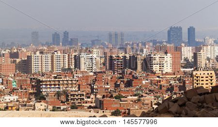 Cairo view from Giza plateau, Egypt.