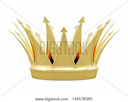 Crown Front View Isolated On White Background. 3D Rendering