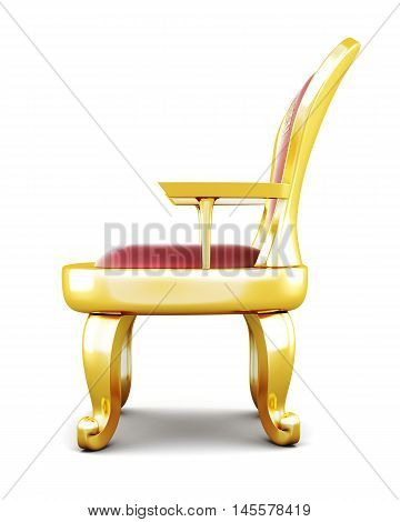 Metal Throne Isolated On White Background. 3D Rendering