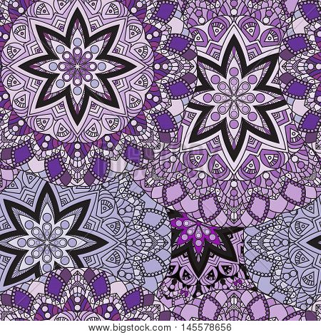 Lilac seamless design in oriental style. Stellar mandalas background for card, front-side, cover or wrapping paper. Indian, arabic, chinese, turkish lace print