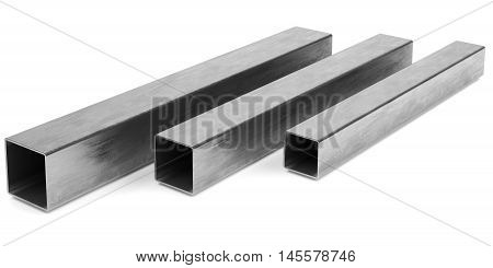 Steel profile pipe on white background. 3D rendering