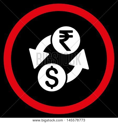 Dollar Rupee Exchange vector bicolor rounded icon. Image style is a flat icon symbol inside a circle, red and white colors, black background.