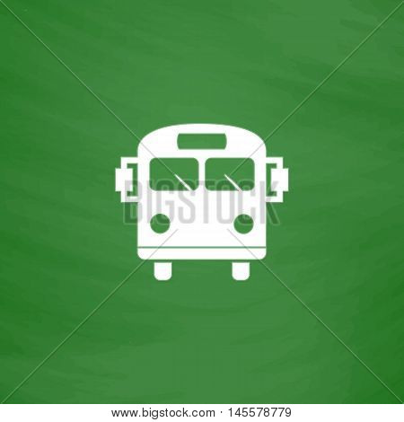 School Bus Simple vector button. Imitation draw icon with white chalk on blackboard. Flat Pictogram and School board background. Illustration symbol