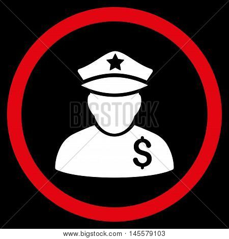Financial Policeman vector bicolor rounded icon. Image style is a flat icon symbol inside a circle, red and white colors, black background.