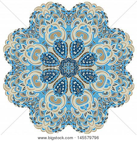 Vector hand drawn template. Lines pattern in blue color.