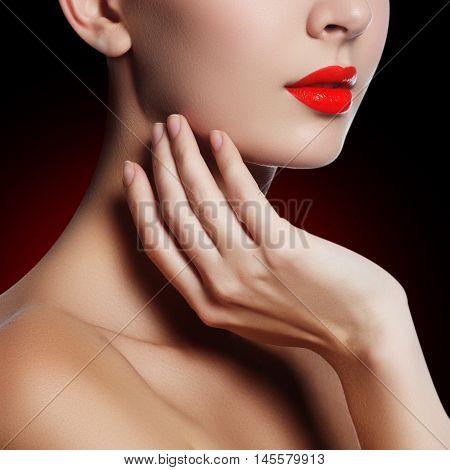 Sexy Lips. Beauty Red Lips Makeup Detail. Beautiful Make-up Clos