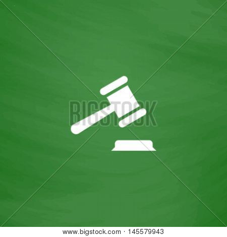 Judge gavel Simple vector button. Imitation draw icon with white chalk on blackboard. Flat Pictogram and School board background. Illustration symbol