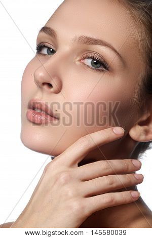Beautiful Young Woman With Clean Fresh Skin. Portrait Of Beautif