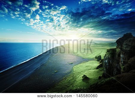 the black sand beach from the cliff of Dyrholaeyjarviti, Iceland