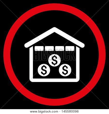 Money Depository vector bicolor rounded icon. Image style is a flat icon symbol inside a circle, red and white colors, black background.