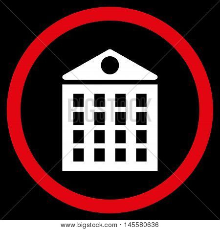 Multi-Storey House vector bicolor rounded icon. Image style is a flat icon symbol inside a circle red and white colors black background.
