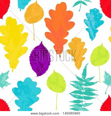 Floral seamless pattern with autumn grunge, yellow, red, orange, green, blue, violet tree leaves on white background. Maple, Elm, Oak, Aspen textured leaves. Vector illustration.
