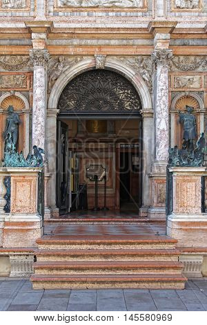 VENICE ITALY - DECEMBER 19: Entrance to San Marco Campanile in Venice on DECEMBER 19 2012. Luxury Access With Marble Stairs to Bell Tower Landmark in Venice Italy.