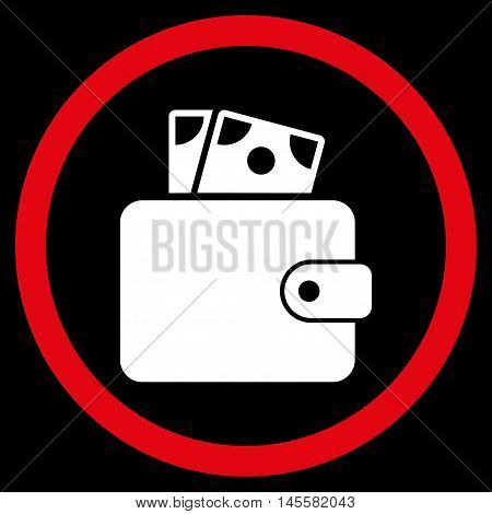 Wallet vector bicolor rounded icon. Image style is a flat icon symbol inside a circle, red and white colors, black background.