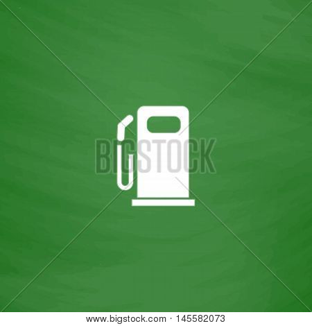 petrol station Simple vector button. Imitation draw icon with white chalk on blackboard. Flat Pictogram and School board background. Illustration symbol