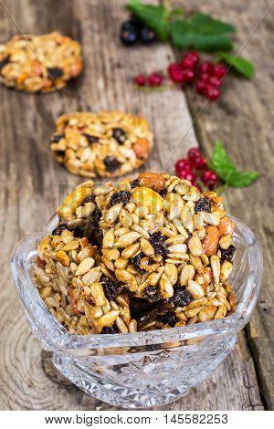 Kozinaki Cookies with Sunflower Seeds, Peanuts, Raisins and Honey Studio Photo