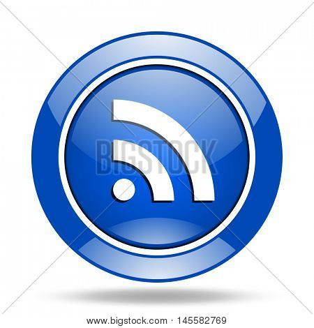 Blue glossy round web rss vector icon