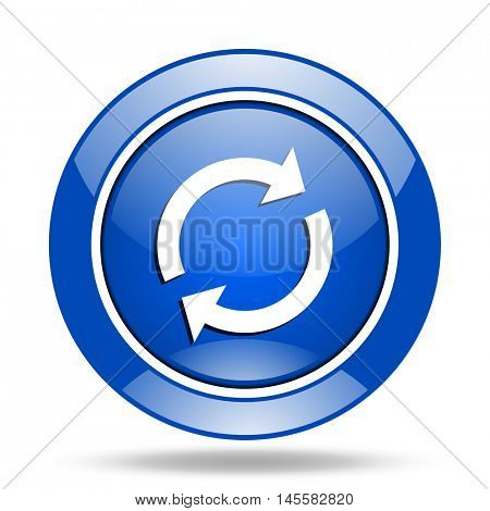 Blue glossy round web reload vector icon