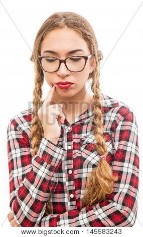 an Healthy young thinking woman in glasses