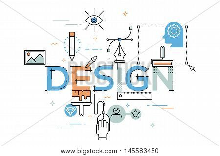 Modern vector illustration concept of word design. Thin line flat design banner for website and mobile application, easy to use and highly customizable.