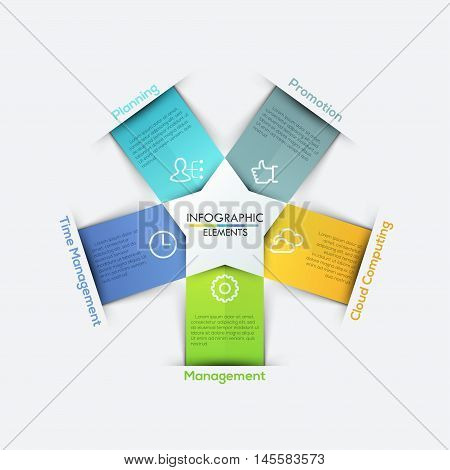 Vector star arrows ribbons infographics set. Template for diagram, graph, presentation and chart. Business concept with 5 options, parts, steps or processes. Abstract background.
