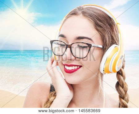 Music Teenager Girl Listening Music With Headhpone