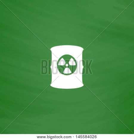 Radioactive waste Simple vector button. Imitation draw icon with white chalk on blackboard. Flat Pictogram and School board background. Illustration symbol