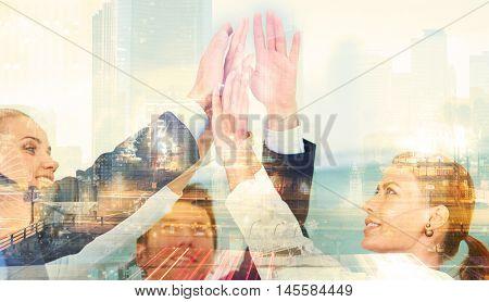 Business Handshake Agreement Partnership. Double Exposure